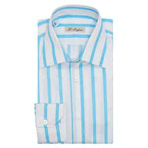 White Cotton Large Stripe Tiffany Shirt