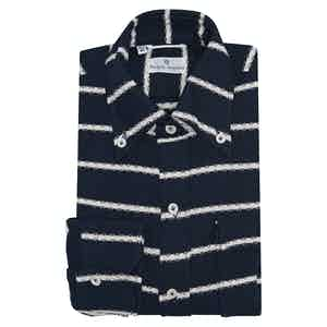 Navy and White Cotton Horizontal Stripe Piquet Overshirt