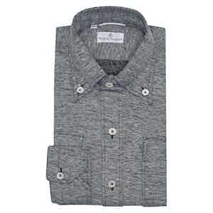 Navy and Grey Cotton Piquet Shirt