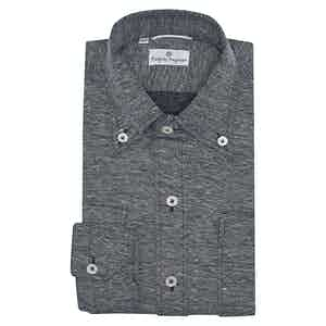 Navy and Grey Cotton Piquet Shirt