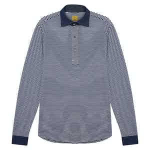 Navy and White Cotton Horizontal Stripe With Denim Contrast Collar Polo Shirt