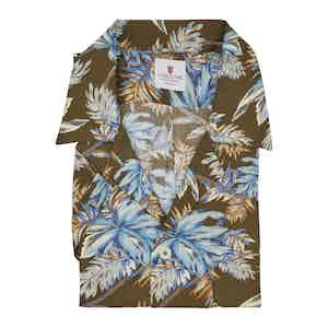 Brown and Azure Viscose Maui Hawaiian Shirt