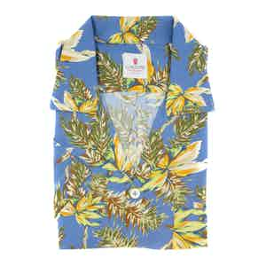 Azure and Yellow Viscose Honolulu Hawaiian Shirt