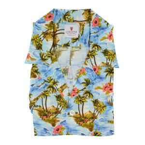 Azure and Pink Viscose Kailua Hawaiian Shirt