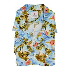 Azure and Pink Viscose Kailua Hawaiian Shirt