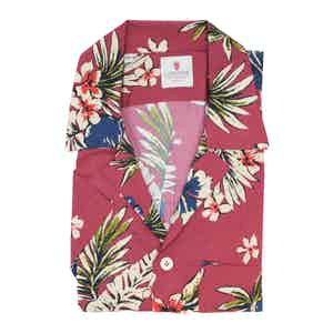 Cream and Red Viscose Volcano Hawaiian Shirt