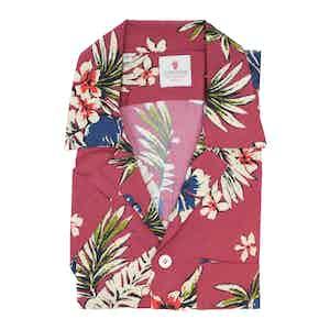 Cream and Red Viscose Volcano Hawaiian Shirt