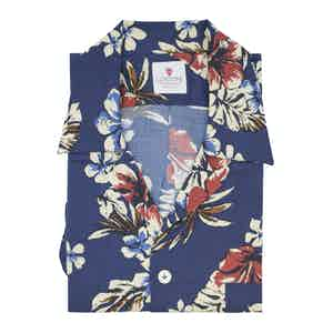 Cream and Blue Viscose Ewa Beach Hawaiian Shirt