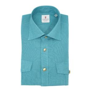 Turquoise Blue Linen Overshirt