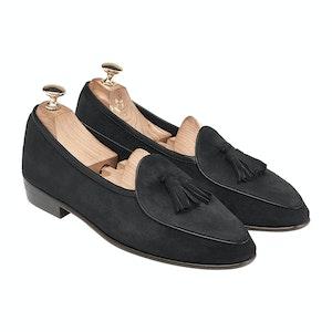 Obsidian Black Suede Sagan Classic Tassel Loafers