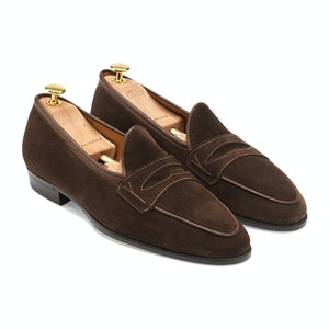 Dark Brown Glove Suede Sagan Grand Penny Loafers