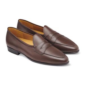 Dark Oak Brown Calf Leather Sagan Grand Penny Loafers
