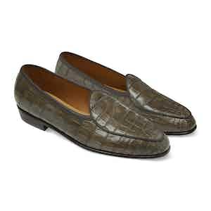 Greige Alligator Precious Leathers Sagan Classic Loafers