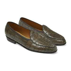 Greige Alligator Precious Leathers Sagan Classic Loafers