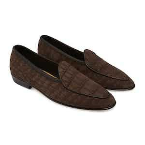 Dark Brown Nubuck Alligator Precious Leathers Sagan Classic Loafers