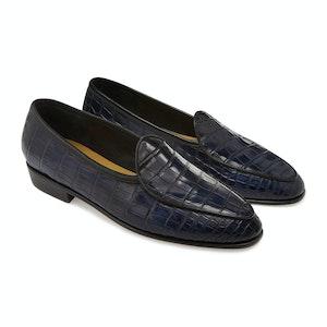Midnight Navy Alligator Precious Leathers Sagan Classic Loafers