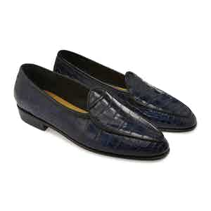 Midnight Navy Alligator Precious Leathers Sagan Classic Loafers