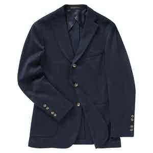 Navy Blue Cotton Jersey Decon Single-Breasted Jacket