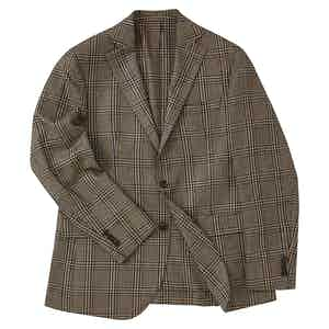 Light Brown Silk Multi Check Single-Breasted Jacket