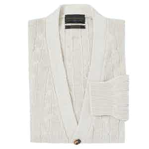 Cream Silk Cable Knit Cardigan