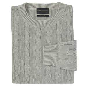 Light Grey Silk Cable Knit Crew Neck Sweater