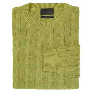 Lime Green Silk Cable Knit Crew Neck Sweater