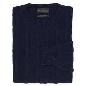 Navy Silk Cable Knit Crew Neck Sweater