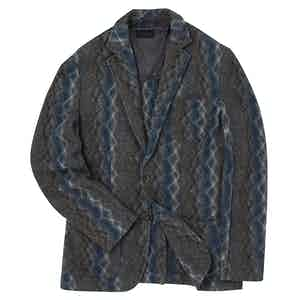 Grey and Blue Mohair Blend Knitted Single-Breasted Jacket