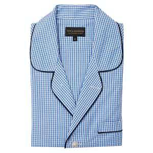 Blue Cotton Gingham Pyjama Set