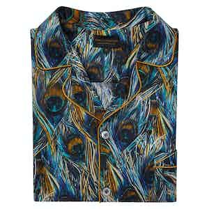 Blue Cotton and Silk Peacock Feathers Pyjama Set