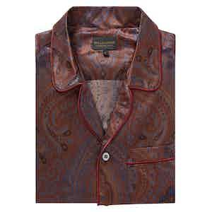 Burgundy Cotton and Silk Paisley Pyjama Set