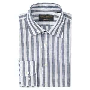 Navy Linen Striped Soft Collar Classic Shirt