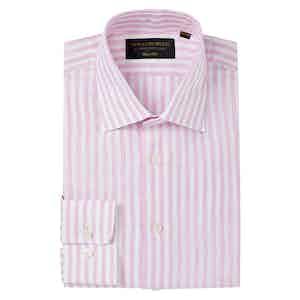 Pink Linen Striped Soft Collar Classic Shirt