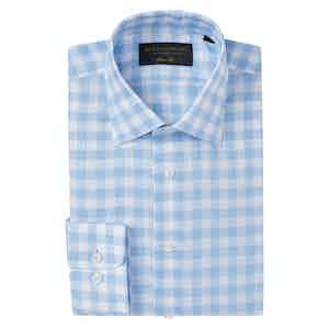 Pale Blue Linen Gingham Soft Collar Classic Shirt