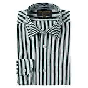Dark Green Cotton Striped Soft Collar Classic Shirt
