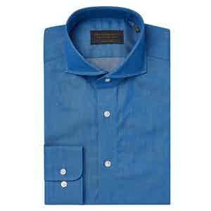 Blue Cotton Denim Cutaway Collar Tailored Shirt