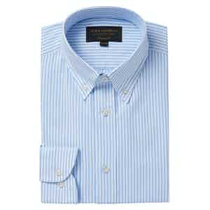 Blue and White Stripe Tailored Oxford Button Down Shirt