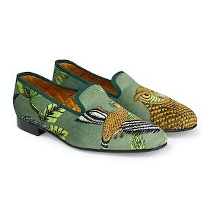 Green Tropical Fauna Velvet Slippers