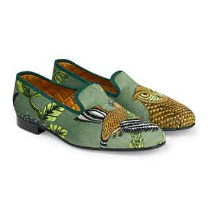 Green Tropical Fauna Velvet Slippers