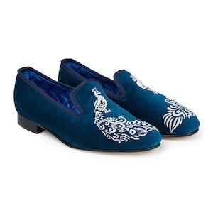 Teal Peacock Velvet Slippers