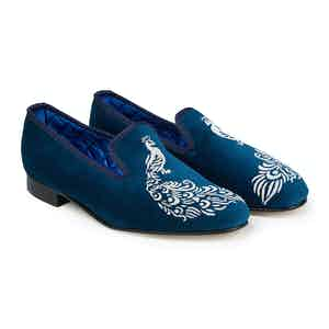 Teal Peacock Velvet Slippers