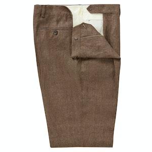 Brown Reverse Pleat Linen Trousers