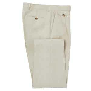 Cream Reverse Pleat Linen Trousers