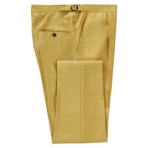 Mustard Reverse Pleat Bamboo Trousers