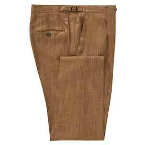 Tan Reverse Pleat Bamboo Trousers