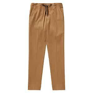 Tobacco Cotton Twill Drawstring Trousers