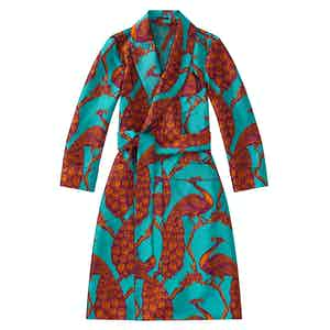 Turquoise Peacock Unlined Silk Dressing Gown