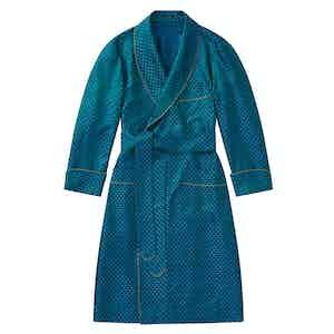 Blue & Green Mini Skulls Unlined Silk Dressing Gown
