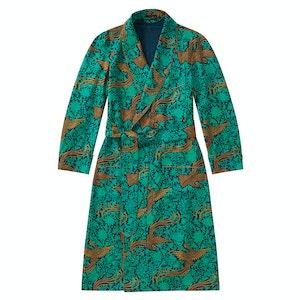 Green & Gold Phoenix Unlined Silk Dressing Gown