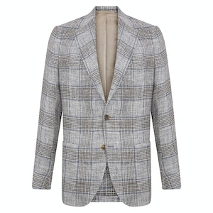 Grey and Brown Linen Check Single-Breasted Posillipo Jacket